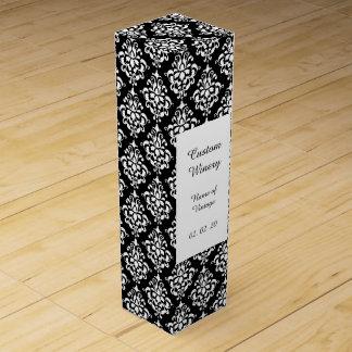 白黒のヴィンテージのダマスク織パターン1 ワインギフトボックス