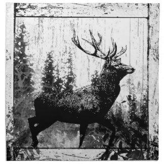 白黒のヴィンテージの一見の雄鹿、シカ動物 ナプキンクロス