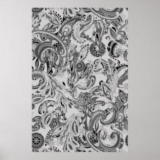 白黒の伝統的なペーズリーの花柄パターン ポスター