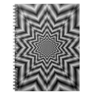 白黒の光学的に挑戦の星 ノートブック
