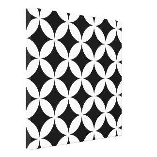 白黒の円およびダイヤモンドはパターンを抽出します キャンバスプリント