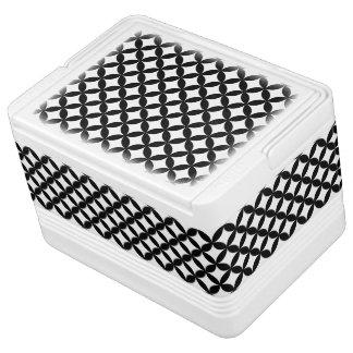 白黒の円およびダイヤモンドパターン 缶クーラー