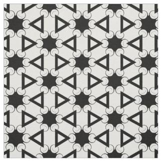 白黒の円そして三角形の生地 ファブリック