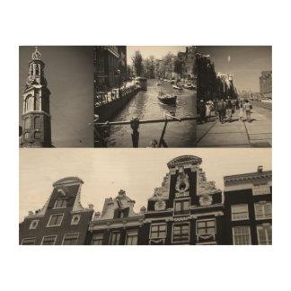 白黒の写真のコラージュアムステルダム2 ウッドウォールアート