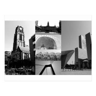 白黒の写真のコラージュロッテルダム1 ポストカード