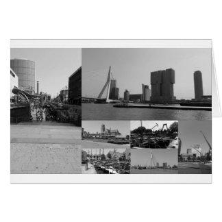 白黒の写真のコラージュロッテルダム3 カード