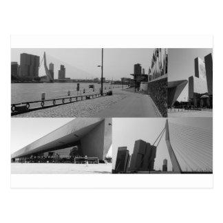 白黒の写真のコラージュロッテルダム4 ポストカード
