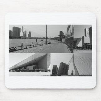 白黒の写真のコラージュロッテルダム4 マウスパッド