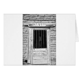 白黒の古い刑務所のドア カード
