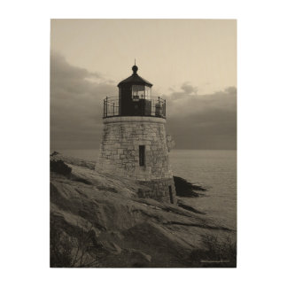 白黒の城の丘の灯台 ウッドウォールアート