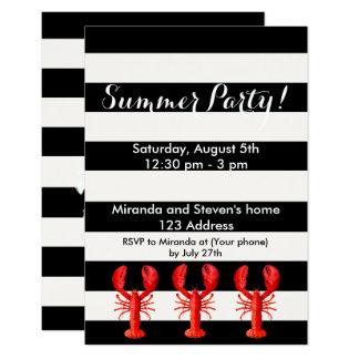 白黒の夏のパーティーの赤いロブスター カード