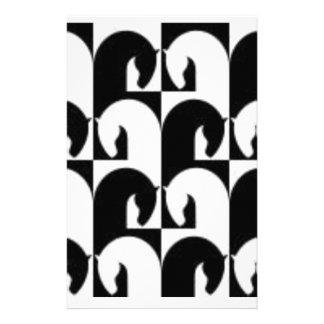 白黒の抽象的なチェスの馬 便箋