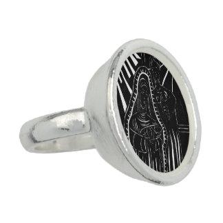 白黒の抽象的な出生の宗教クリスマス 指輪