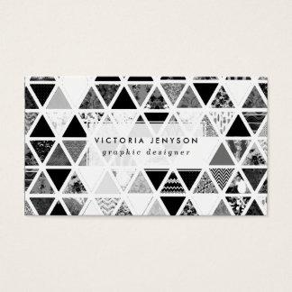 白黒の抽象的な花の三角形のパッチワーク 名刺