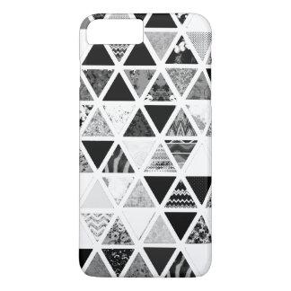 白黒の抽象的な花の三角形のパッチワーク iPhone 8 PLUS/7 PLUSケース
