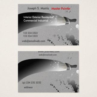 白黒の水彩画のペンキの塗装業者 名刺