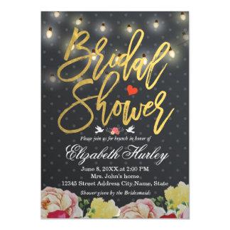 白黒の水玉模様のひもライト花の結婚式 12.7 X 17.8 インビテーションカード