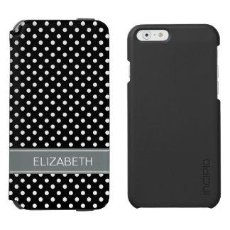 白黒の水玉模様の木炭名前のモノグラム iPhone 6/6Sウォレットケース