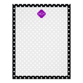 白黒の水玉模様の紫色のクローバー3のモノグラム レターヘッド