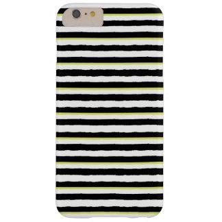 白黒の淡黄緑のストライプのなiPhone 6のプラスの場合 Barely There iPhone 6 Plus ケース