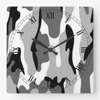 白黒の灰色のカムフラージュのローマ数字の時計 時計