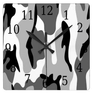 白黒の灰色のカムフラージュの正方形の時計 スクエア壁時計