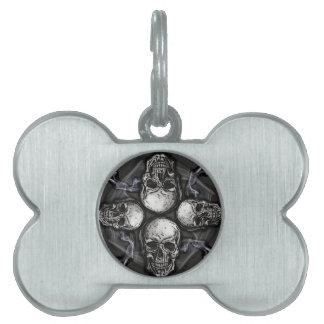 白黒の灰色のゴシック様式スカル ペットネームタグ