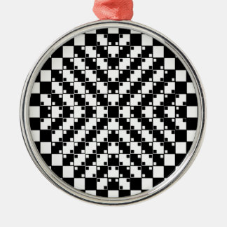 白黒の目の錯覚 メタルオーナメント