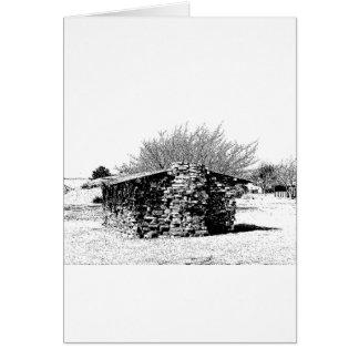 白黒の石造りの小屋 カード