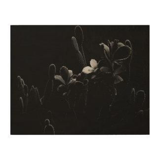 白黒の砂漠の植物 ウッドウォールアート
