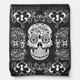 白黒の砂糖のスカルの骨組入れ墨の芸術のバッグ ナップサック