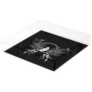 白黒の素晴らしいカラスそして花 アクリルトレー