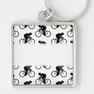 白黒の自転車パターン。 キーホルダー