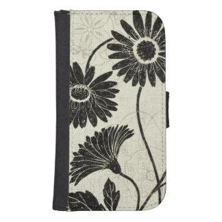 白黒の花パターン ウォレットケース