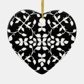 白黒の葉パターン セラミックオーナメント