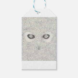 白黒の詳しいフクロウのイラストレーション ギフトタグ