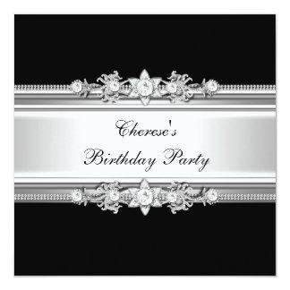 白黒の誕生会の銀の宝石のイメージ カード