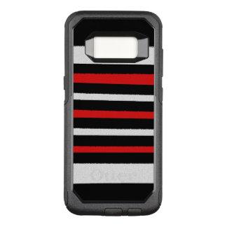 白黒の赤のストライプのクールでシンプルなパターン オッターボックスコミューターSamsung GALAXY S8 ケース