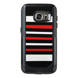 白黒の赤のストライプのクールでシンプルなパターン オッターボックスSamsung GALAXY S7ケース