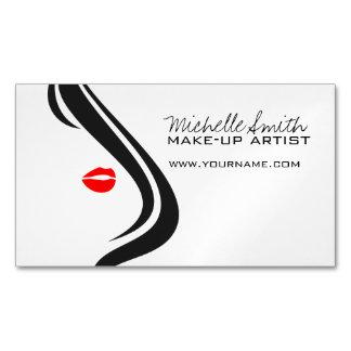 白黒の赤の唇の化粧アイコン女性の顔 マグネット名刺