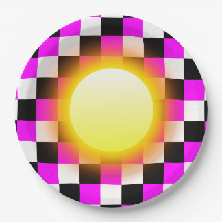 白黒の赤紫のマゼンタの正方形の白熱日曜日 ペーパープレート