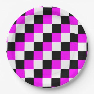 白黒の赤紫のマゼンタの正方形 ペーパープレート