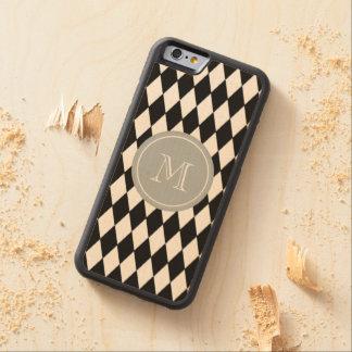 白黒の道化師パターン、灰色のモノグラム CarvedメープルiPhone 6バンパーケース