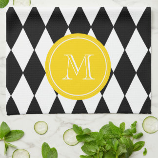 白黒の道化師パターン、黄色いモノグラム キッチンタオル