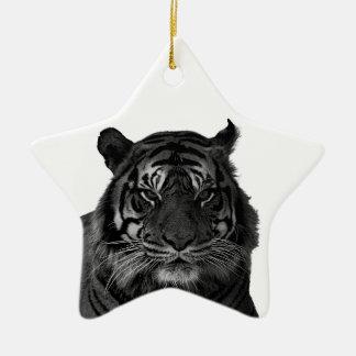 白黒の野生のトラ セラミックオーナメント