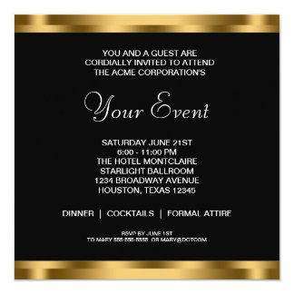 白黒の金ゴールドの準正装の企業のなパーティー カード