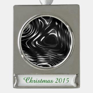 白黒の金属液体 シルバープレートバナーオーナメント