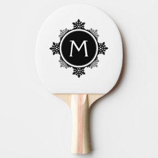 白黒の雪片のリースのモノグラム 卓球ラケット