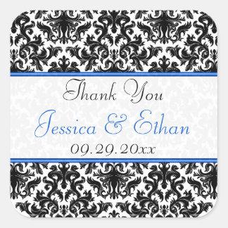 """白黒の青いダマスク織1.5""""結婚式の引き出物のステッカー スクエアシール"""