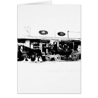 白黒の駅馬車そして馬 カード